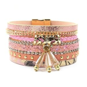 Jewelry - Magnetic Multi Layer Wrap Bracelet - Pink